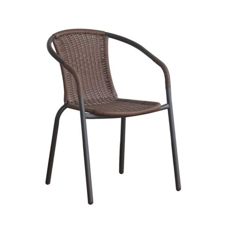 """Πολυθρόνα """"BALENO"""" μεταλλική με πλέξη wicker σε καφέ χρώμα 53x58x77"""