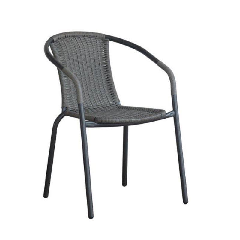 """Πολυθρόνα """"BALENO"""" μεταλλική με πλέξη wicker σε γκρι χρώμα 53x58x77"""