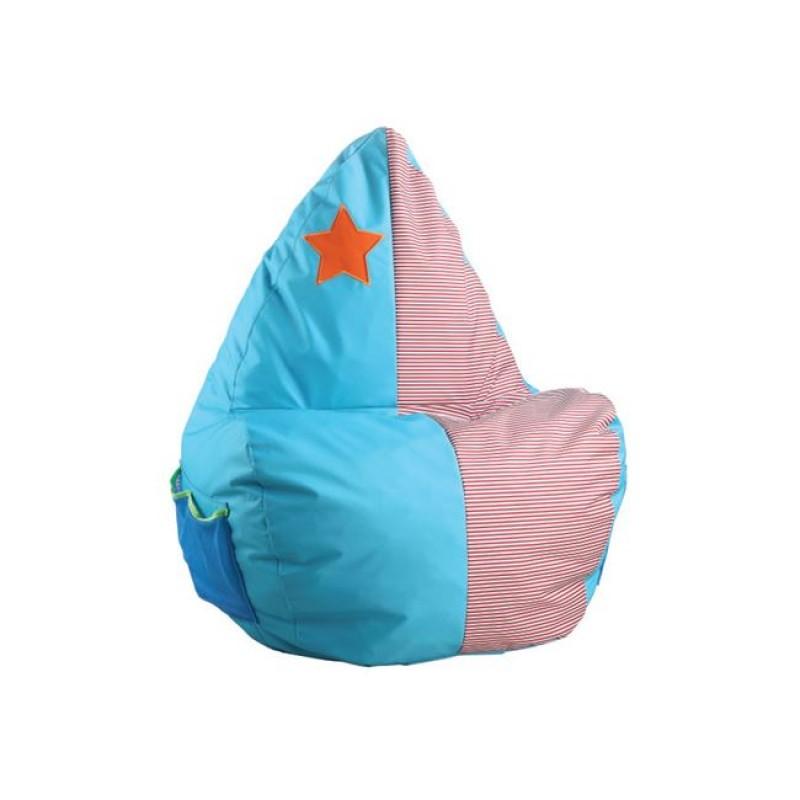 """Πολυθρόνα παιδικό πουφ """"ASTRO"""" υφασμάτινο σε χρώμα γαλάζιο-ροζ 46x53x90"""