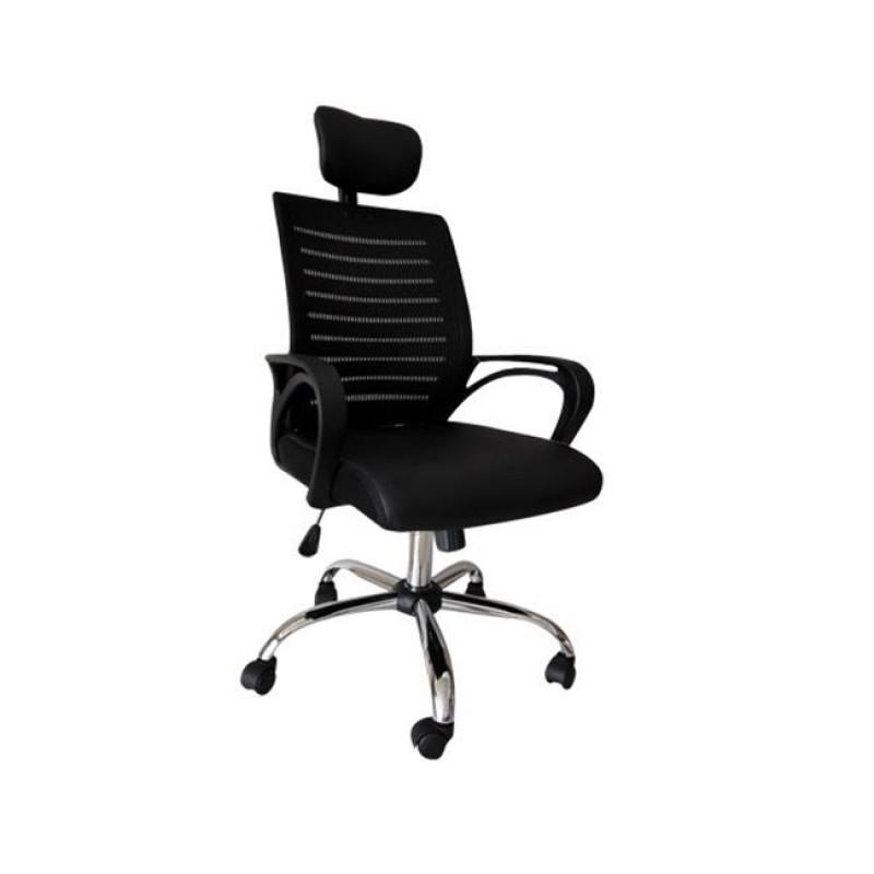 Πολυθρόνα διευθυντή από mesh ύφασμα σε μαύρο χρώμα 65x61x111/119