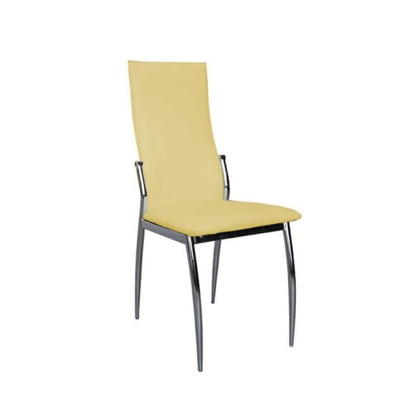 """Καρέκλα """"FRESH"""" χρωμίου-pvc σε κίτρινο χρώμα 42x55x96"""