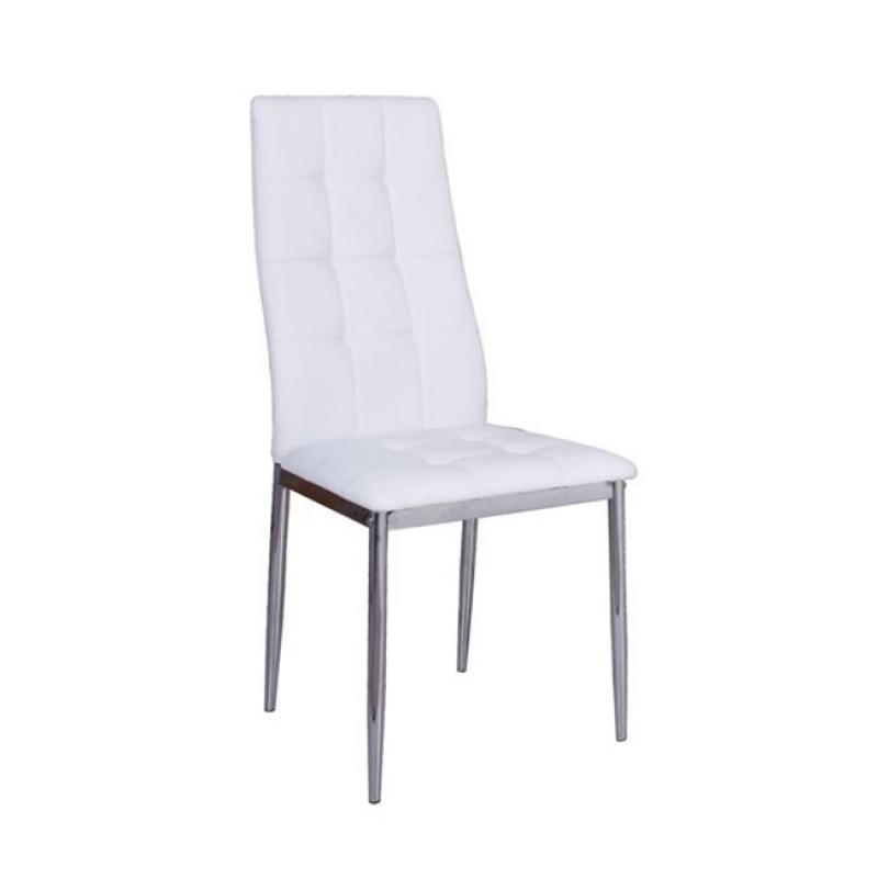 """Καρέκλα """"LEONA"""" χρωμίου-pvc σε λευκό χρώμα 38x48x95"""