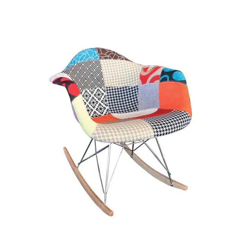 """Πολυθρόνα """"ALEA Rocky"""" χρωμίου με ύφασμα patchwork 64x69x70"""