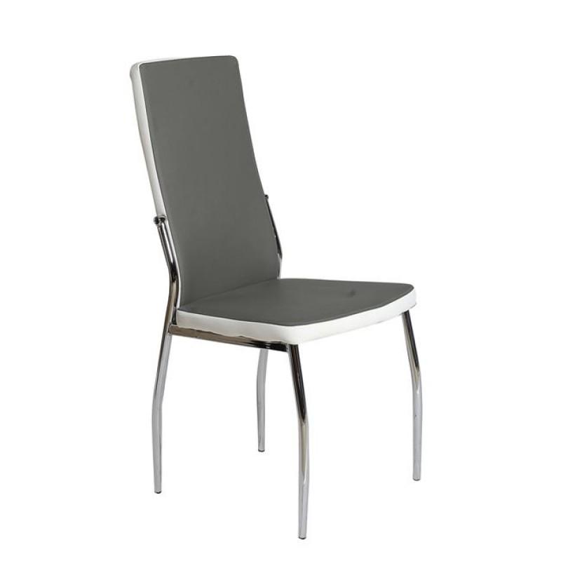 """Καρέκλα """"FRESH DUO"""" χρωμίου-pvc σε γκρι χρώμα 44x55x98"""