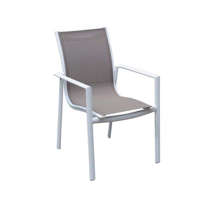 """Πολυθρόνα """"MANSON"""" αλουμινίου σε λευκό χρώμα και textilene μπεζ 58x62x91"""