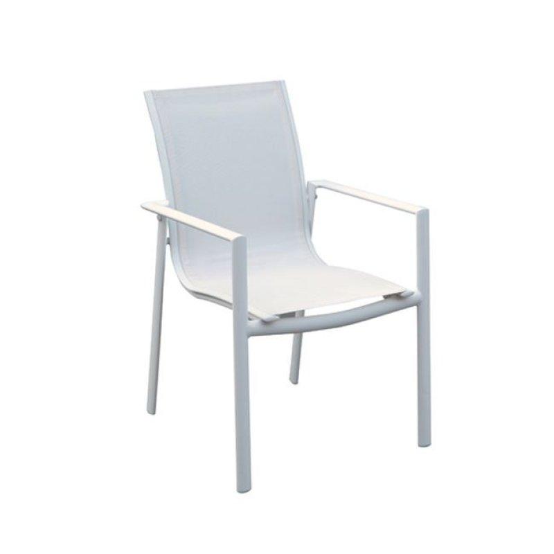 """Πολυθρόνα """"MANSON"""" αλουμινίου και textilene λευκό χρώμα 58x62x91"""