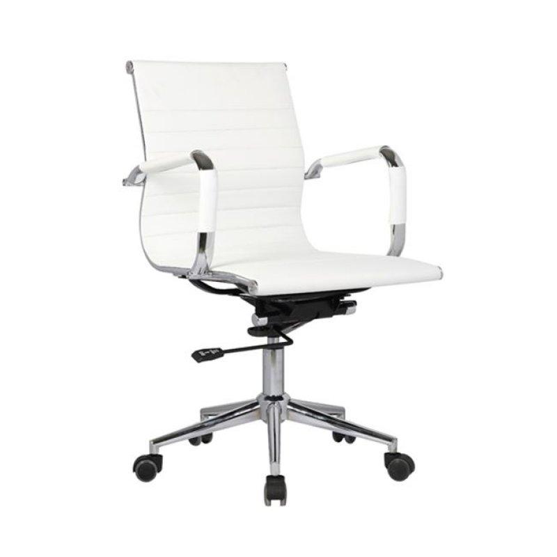 Πολυθρόνα εργασίας χαμηλή πλάτη από τεχνόδερμα σε λευκό χρώμα 54x59x95/105