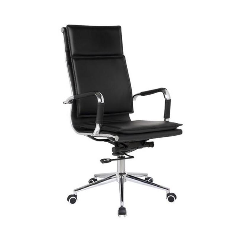 Πολυθρόνα διευθυντή από τεχνόδερμα σε μαύρο χρώμα  55x63x108/116