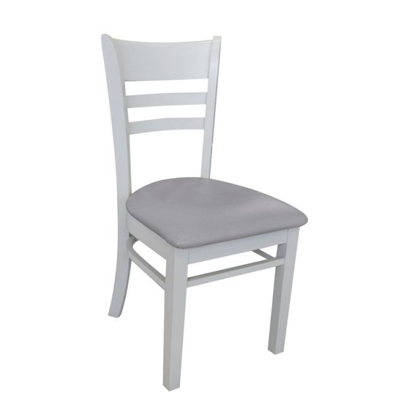 """Καρέκλα """"CABIN"""" ξύλινη-pvc σε γκρι χρώμα 42x48x91"""