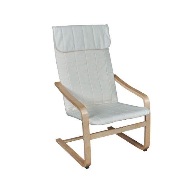 """Πολυθρόνα """"HAMILTON"""" από μασιφ σημύδα και ύφασμα σε λευκό χρώμα 59x73x99"""