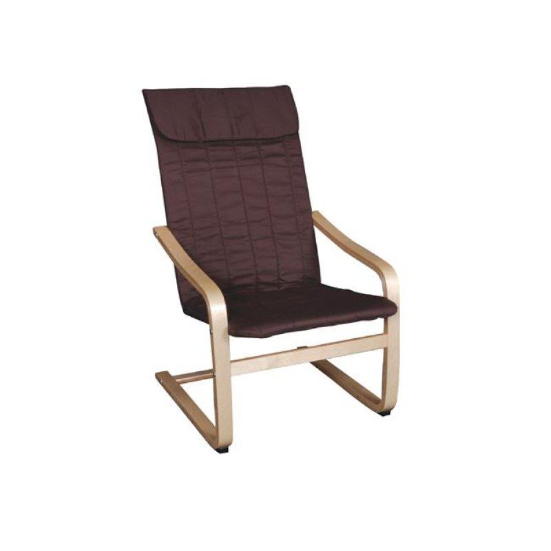 """Πολυθρόνα """"HAMILTON"""" από μασιφ σημύδα και ύφασμα σε καφέ χρώμα 59x73x99"""