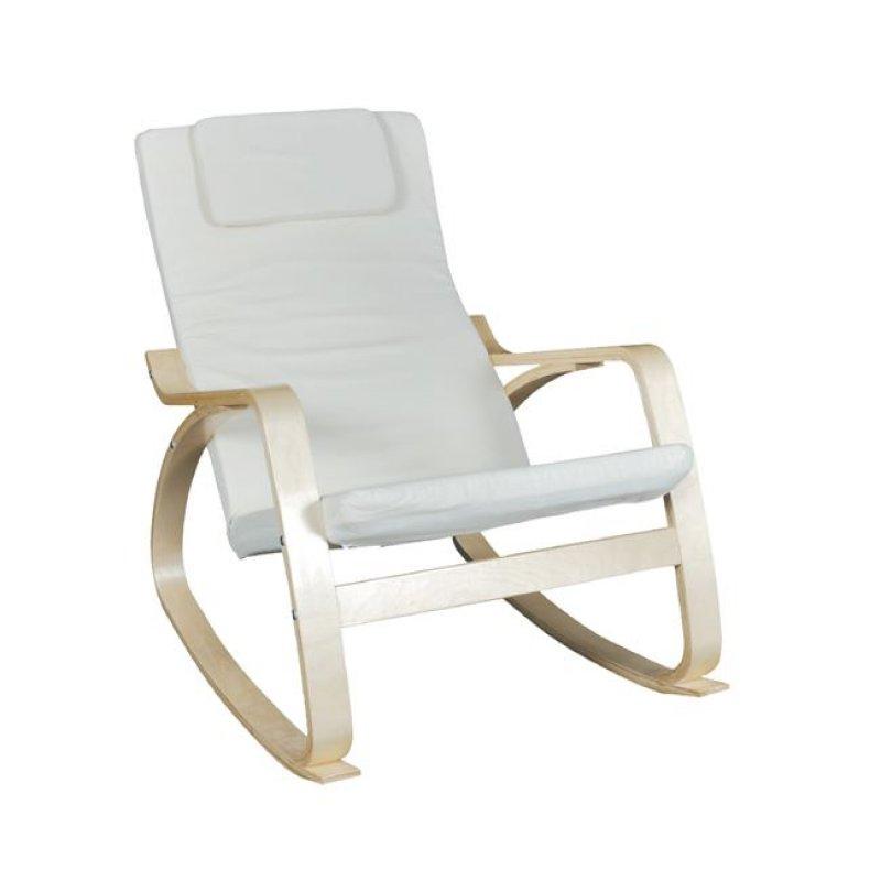 """Πολυθρόνα κουνιστή """"HAMILTON Rocky"""" από μασιφ σημύδα και ύφασμα σε λευκό χρώμα 67x92x86"""