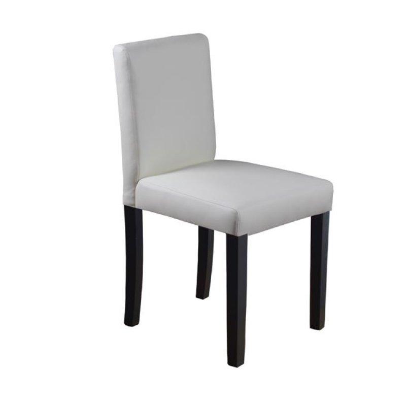 """Καρέκλα """"MALEVA-L"""" ξύλινη-pvc σε χρώμα ivory 44x50x83"""