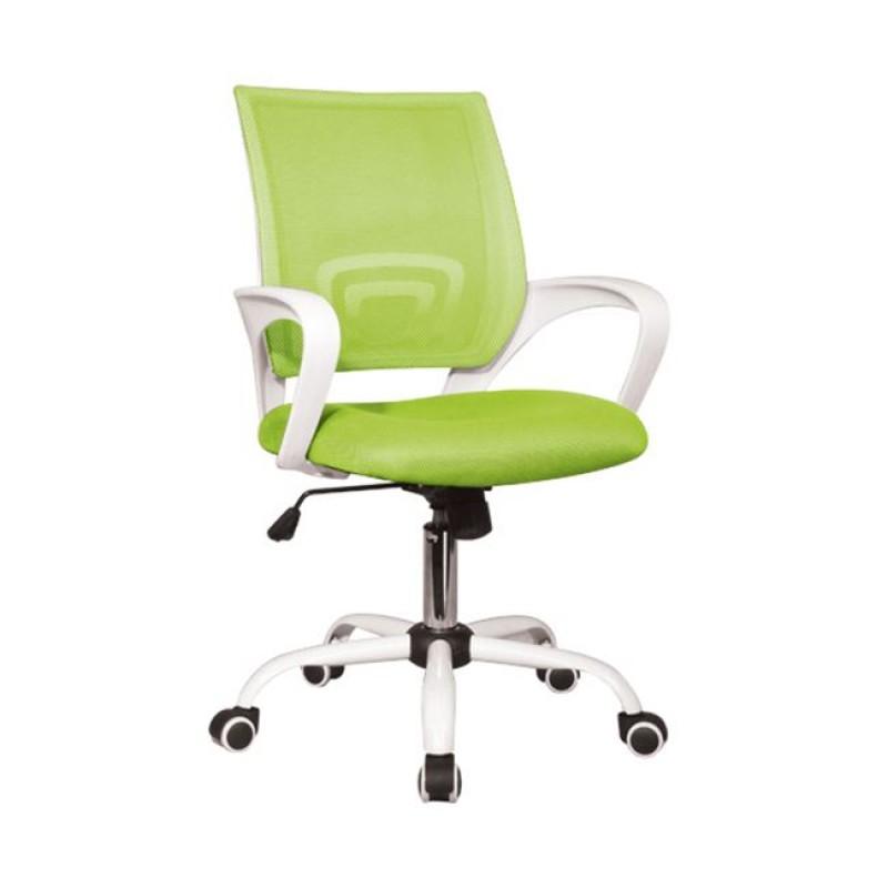 Πολυθρόνα εργασίας από ύφασμα mesh σε λευκό-λαχανί χρώμα 54x56x91/101