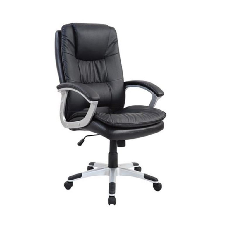 Πολυθρόνα διευθυντή από τεχνόδερμα σε μαύρο χρώμα 77x71x107/117
