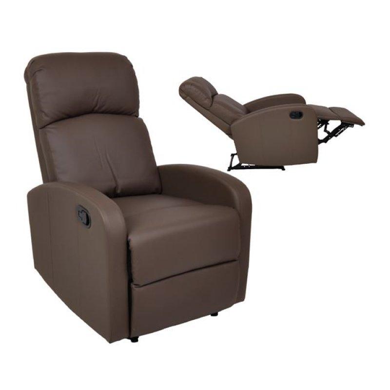 """Πολυθρόνα """"BIZARD"""" relax από τεχνόδερμα σε καφέ χρώμα 65x89x102"""