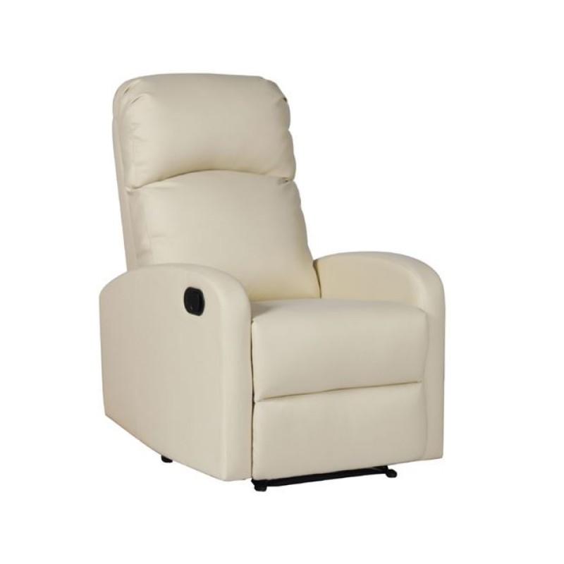 """Πολυθρόνα """"BIZARD"""" relax από τεχνόδερμα σε εκρού χρώμα 65x89x102"""