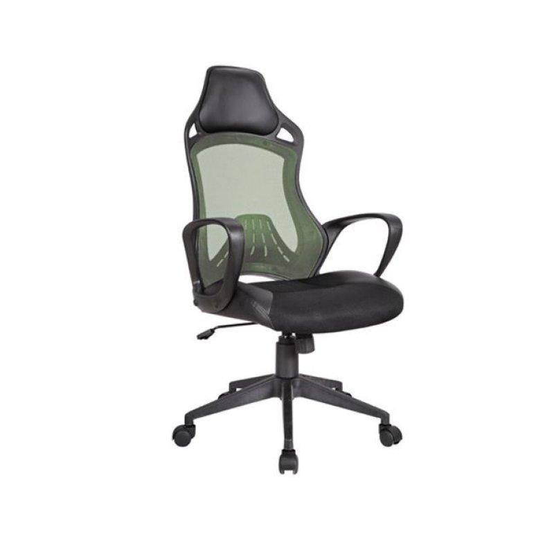 Πολυθρόνα διευθυντή από ύφασμα mesh και τεχνόδερμα σε πρασίνο-μαύρο χρώμα 63x73x115/125