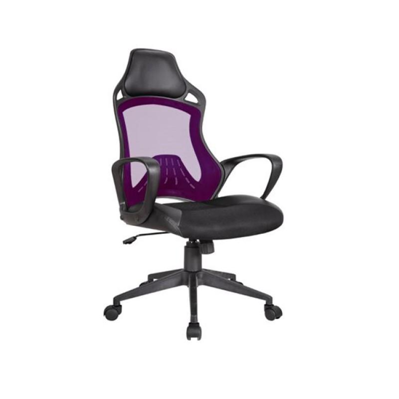 Πολυθρόνα διευθυντή από ύφασμα mesh και τεχνόδερμα σε μωβ-μαύρο χρώμα 63x73x115/125