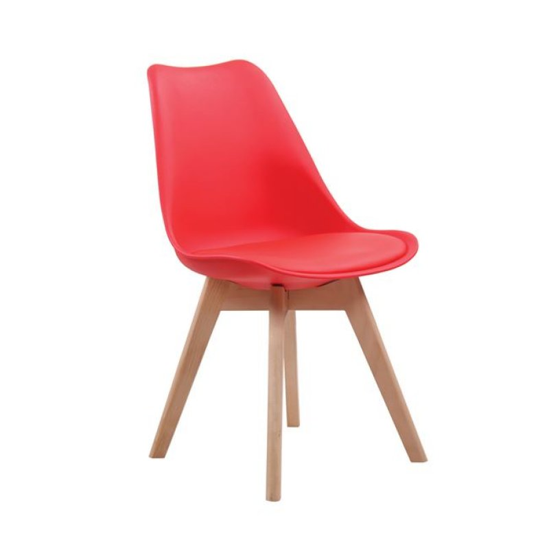 """Καρέκλα """"MARTIN"""" ξύλινη-pp σε χρώμα κόκκινο 48x50x82"""