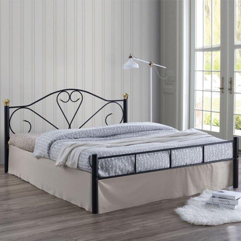 """Κρεβάτι """"LAZAR"""" διπλό μεταλλικό σφυρήλατο μαύρο 158x210x95"""