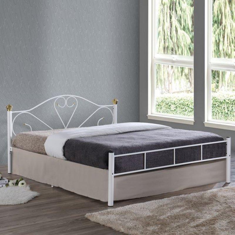 """Κρεβάτι """"LAZAR"""" διπλό μεταλλικό σφυρήλατο λευκό 158x210x95"""