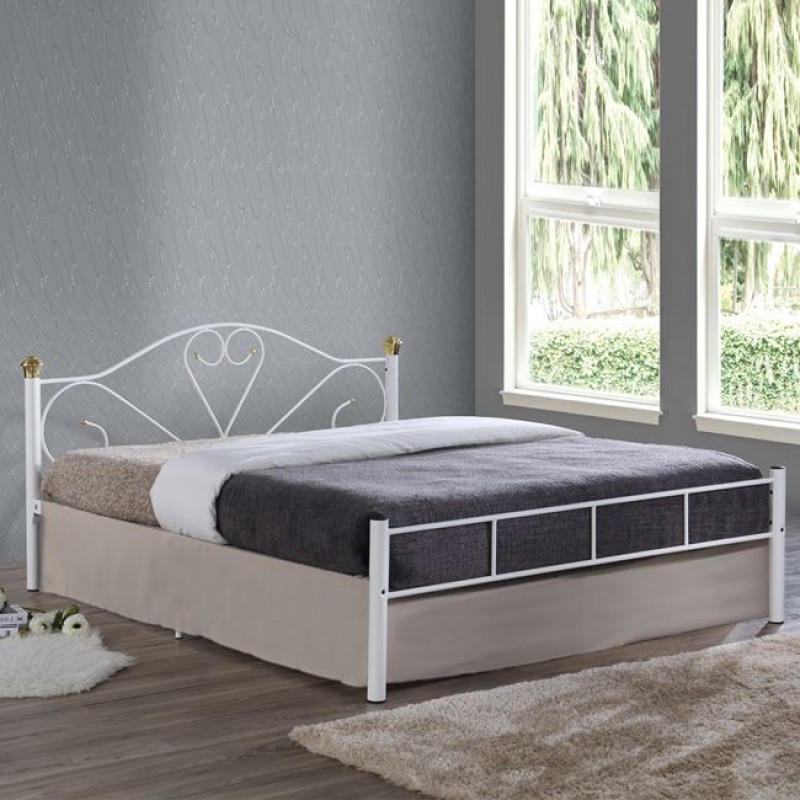 """Κρεβάτι """"LAZAR"""" διπλό μεταλλικό σφυρήλατο λευκό χρώμα 168x210x95"""