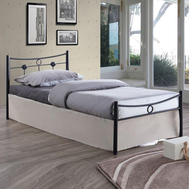 """Κρεβάτι """"DUGAN"""" μονό μεταλλικό σφυρήλατο μαύρο 96x205x83"""