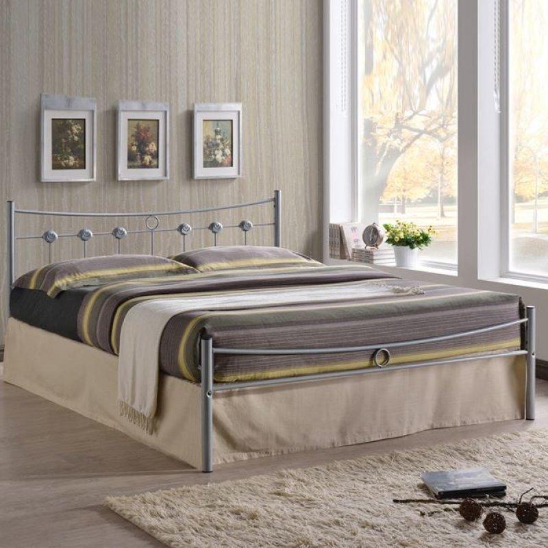 """Κρεβάτι """"DUGAN"""" διπλό μεταλλικό σε χρώμα ασημί 156x205x83"""