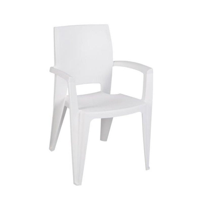 """Πολυθρόνα """"AMY"""" από πολυπροπυλένιο σε λευκό χρώμα 56x55x85"""