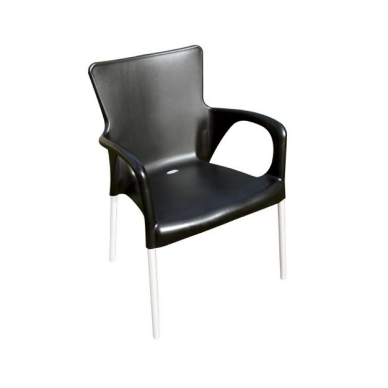 """Πολυθρόνα """"LARA"""" από πολυπροπυλένιο σε μαύρο χρώμα 55x52x85"""