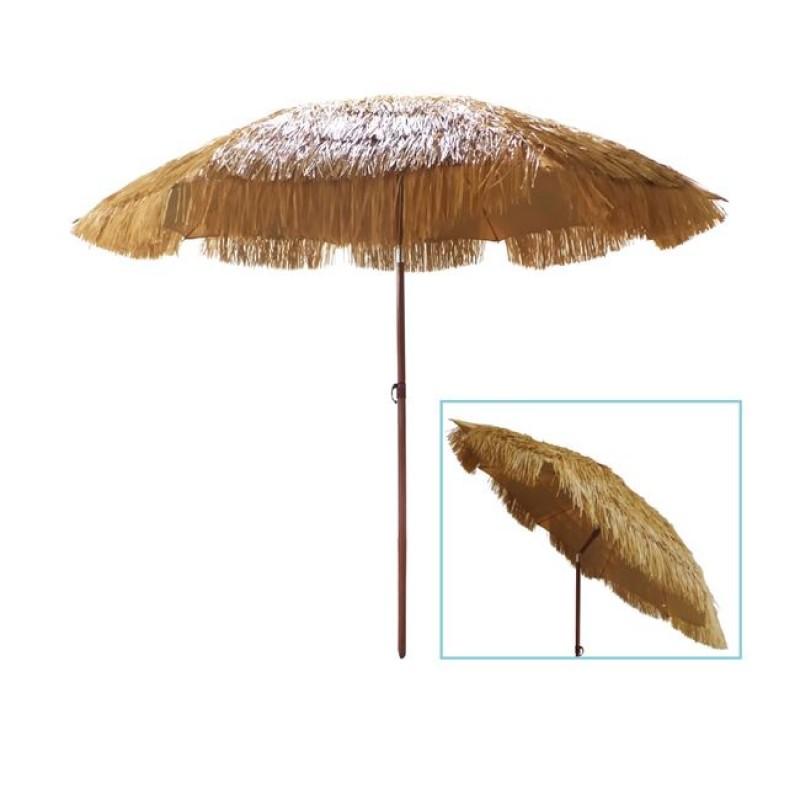 """Ομπρέλα """"HAWAII"""" μεταλλική σε καρυδί με ίνες raffia Φ2"""