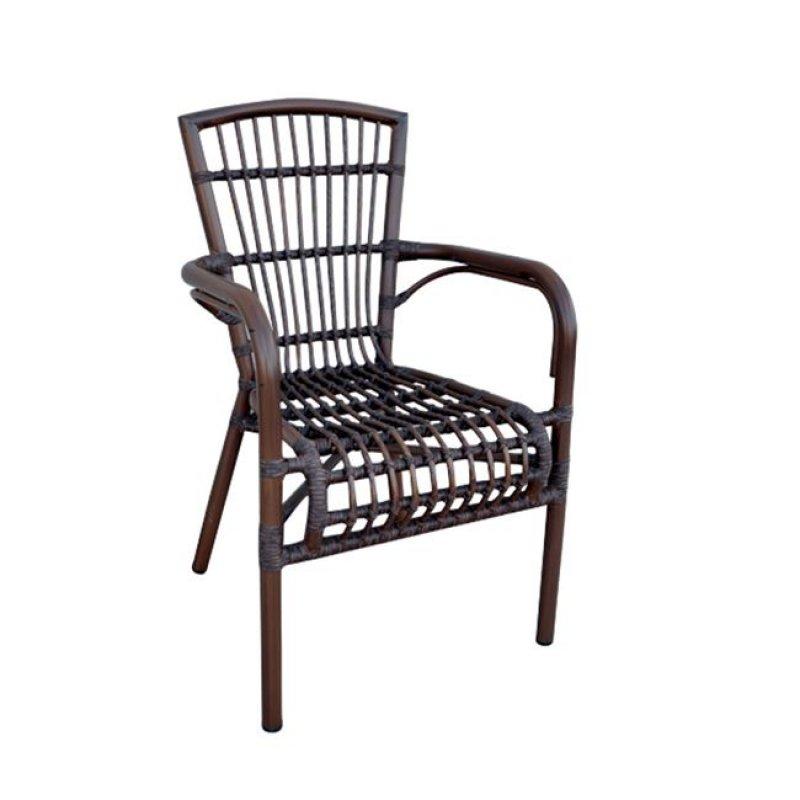 """Πολυθρόνα """"PANTHEON"""" αλουμινίου σε καφέ χρώμα 56x62x92"""