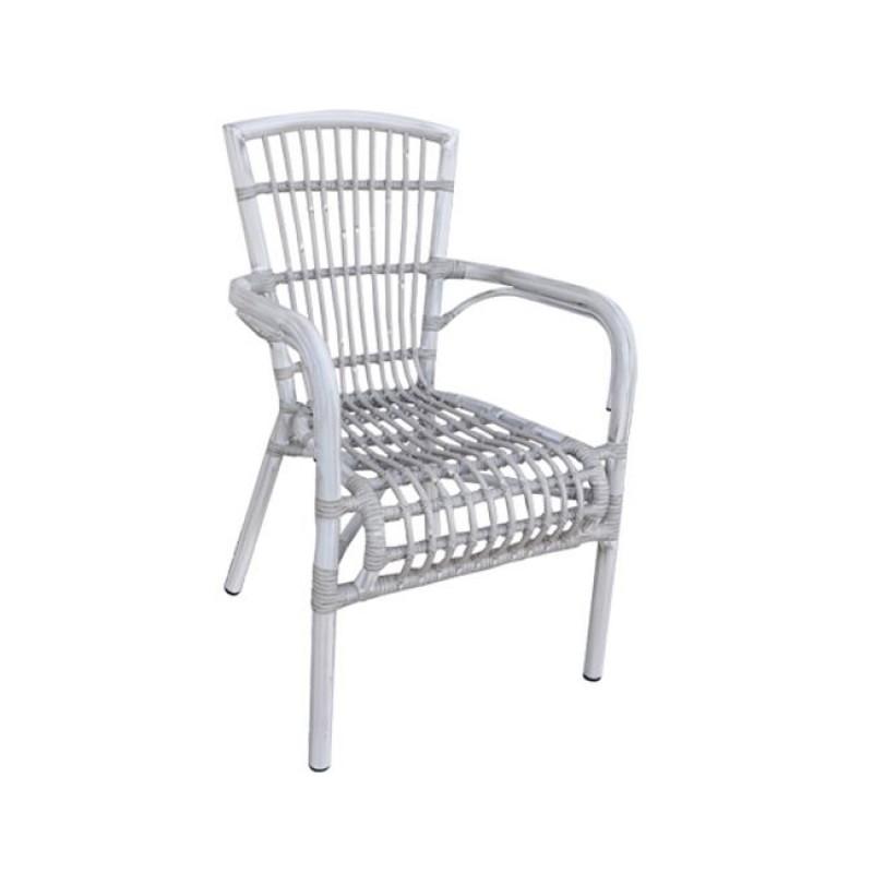 """Πολυθρόνα """"PANTHEON"""" αλουμινίου σε αντικέ λευκό χρώμα 56x62x92"""