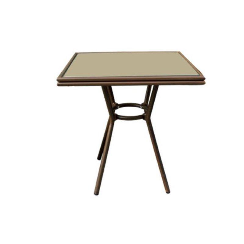 """Τραπέζι """"FIGARO"""" αλουμινίου σε χρώμα καφέ με γυάλινη επιφάνεια 70x70x75"""
