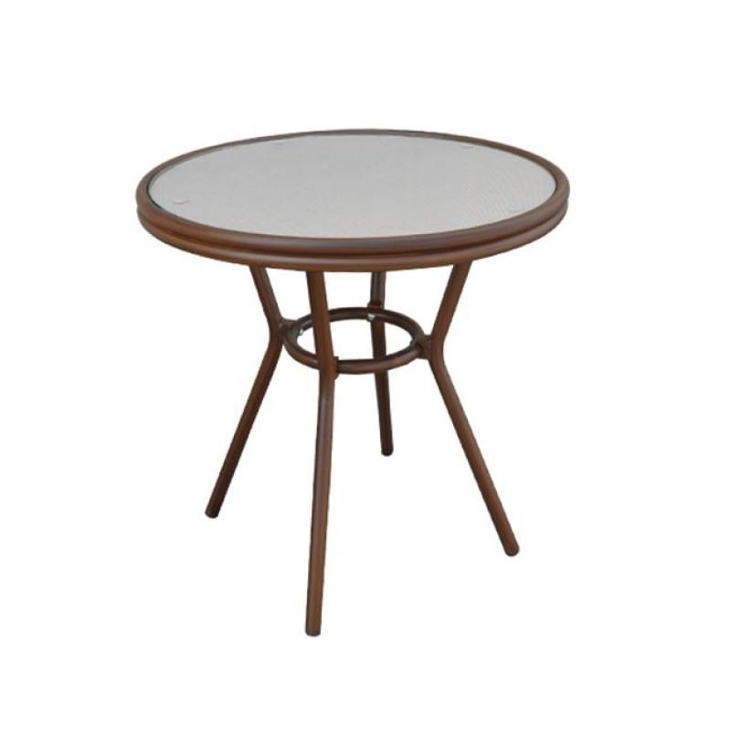 """Τραπέζι """"FIGARO"""" αλουμινίου σε χρώμα καφέ με γυάλινη επιφάνεια 70x75"""