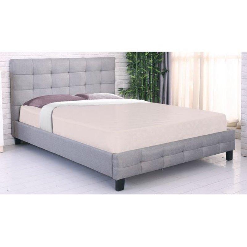 """Κρεβάτι """"FIDEL"""" διπλό από τεχνόδερμα σε γκρι χρώμα 168x215x107"""