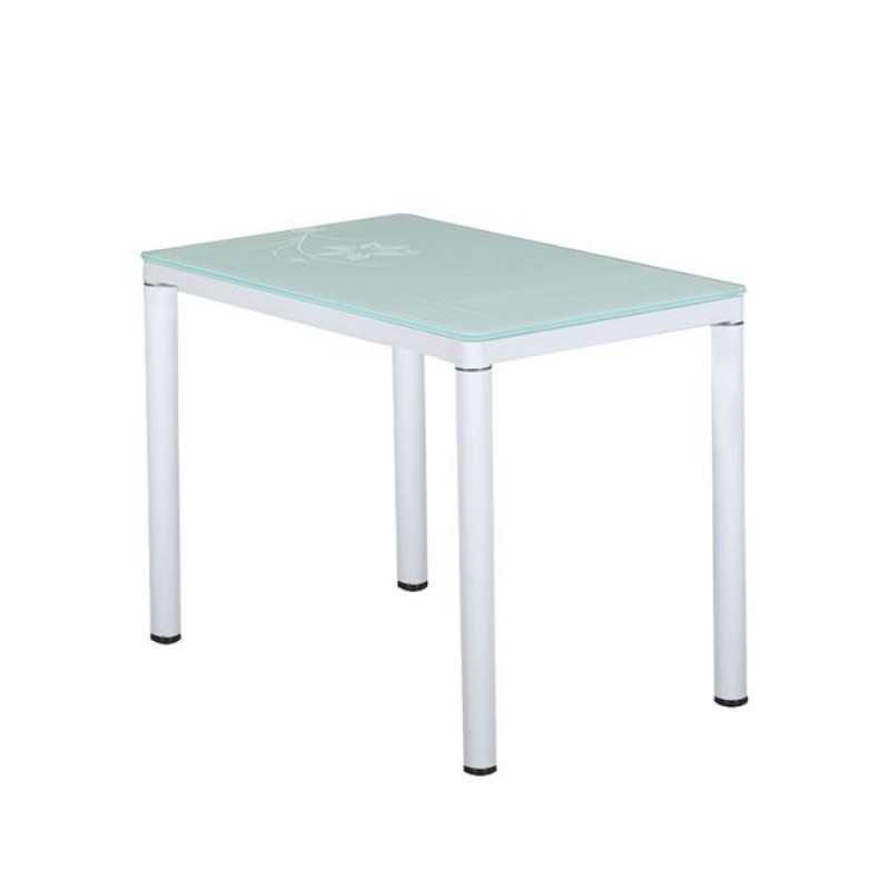 """Τραπέζι """"ARTEC"""" μεταλλικό σε λευκό χρώμα με γυάλινη επιφάνεια 120x70x74"""
