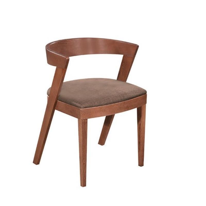 """Πολυθρόνα """"DEREK"""" ξύλινη-υφασμάτινη σε χρώμα καφέ 51x50x71"""