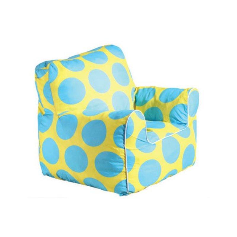 """Πολυθρόνα παιδικό πουφ """"FANTIC"""" υφασμάτινη σε πουά μπλε-κίτρινο 48x55x53"""