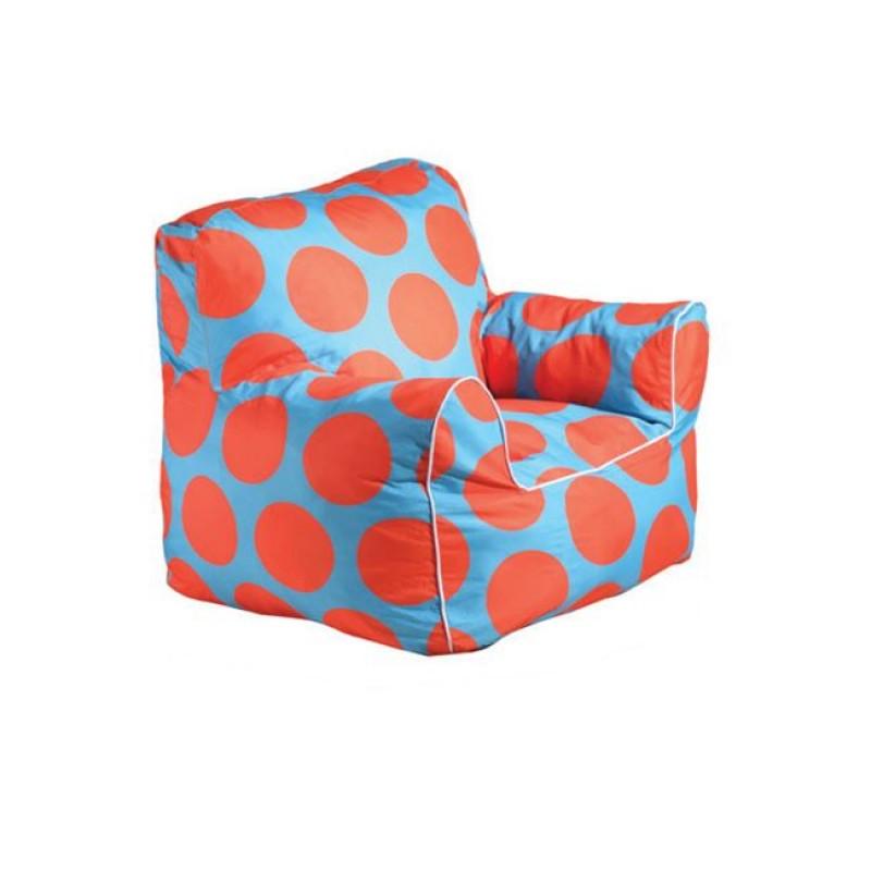 """Πολυθρόνα παιδικό πουφ """"FANTIC"""" υφασμάτινη σε πουά πορτοκαλί-μπλέ 48x55x53"""