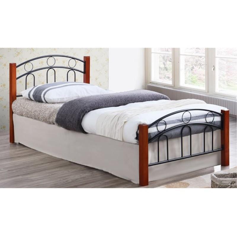 """Κρεβάτι """"NORTON"""" μονό από μέταλλο-μαύρο, ξύλο-καρυδί 97x201x81"""