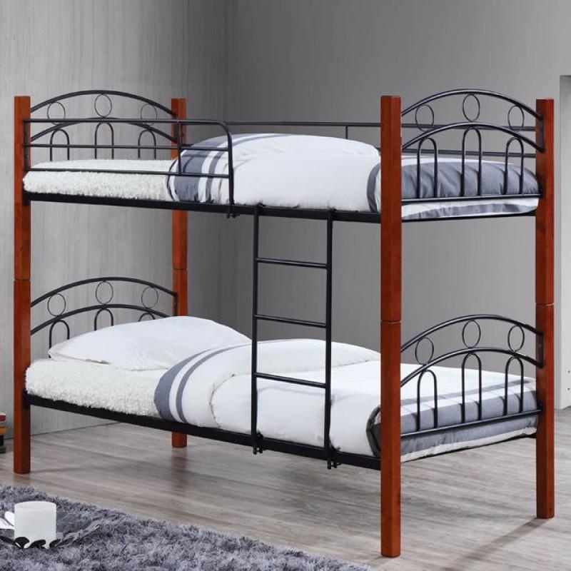 """Kρεβάτι-κουκέτα """"NORTON"""" από μεταλλικό-μαύρο και ξύλινο-καρυδί σκελετό 97x201x160"""