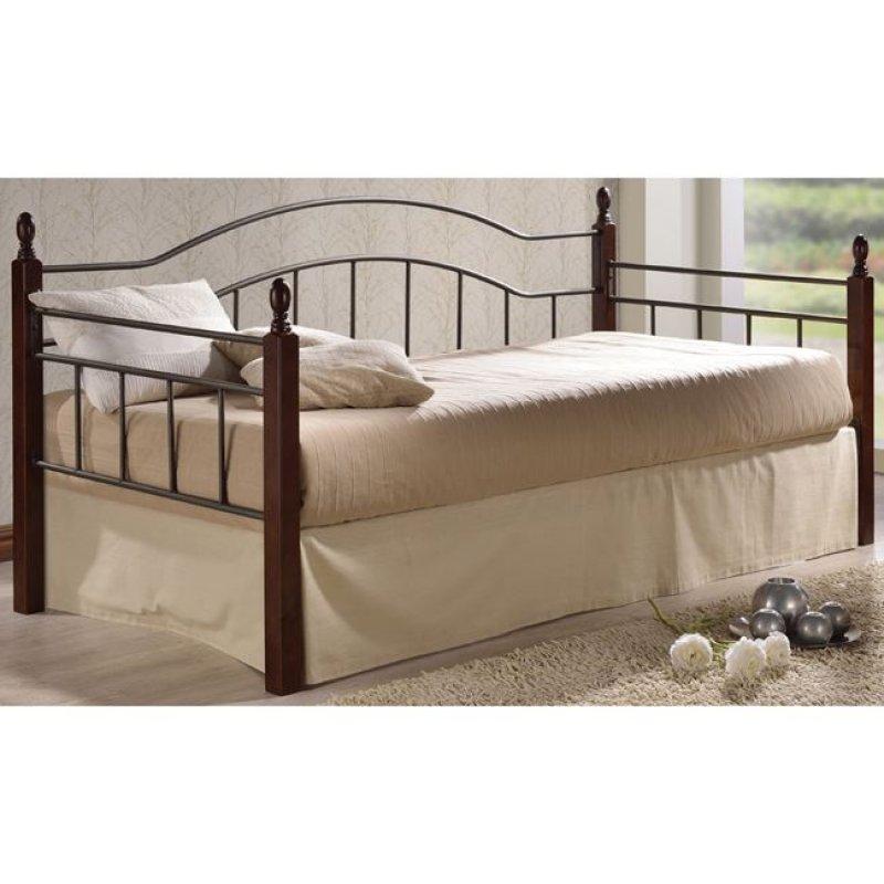"""Κρεβάτι """"VINCENT"""" μονό μεταλλικό-μαύρο, ξύλο-καρυδί 98x201x99"""