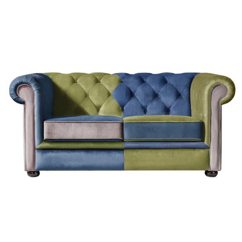 """Καναπές """"MODENA"""" διθέσιος από ύφασμα patchwork βελούδο 162x90x75"""