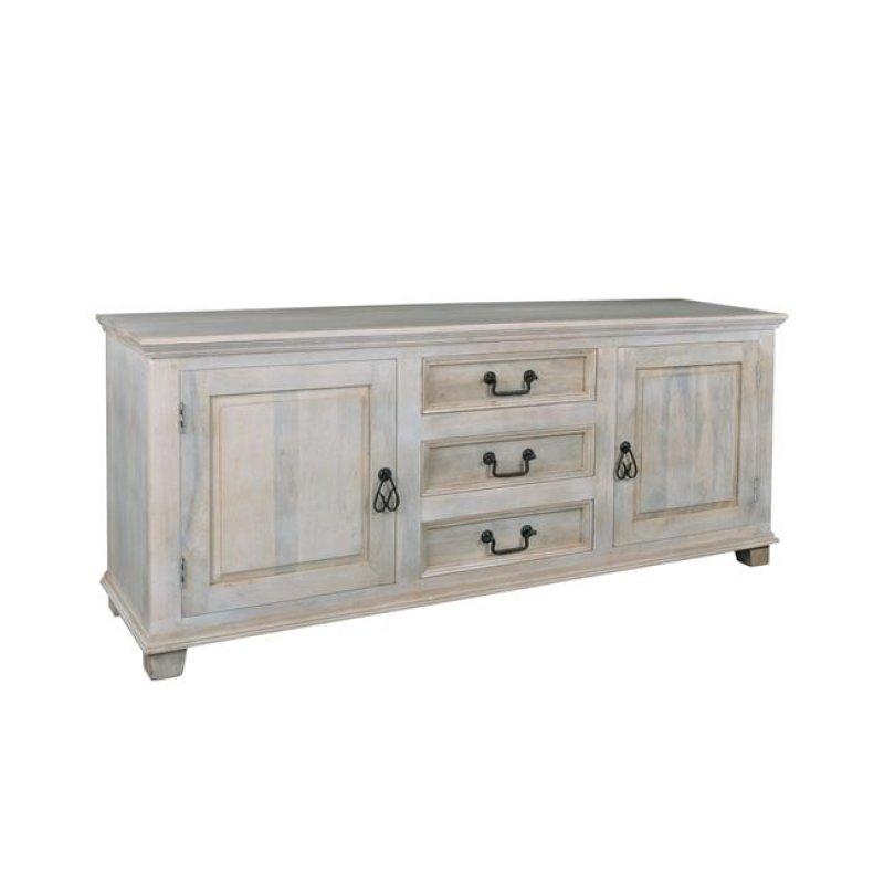 """Μπουφές """"MAISON SARDAR"""" ξύλινος μασιφ σε χρώμα αντικέ λευκό 175x45x76"""