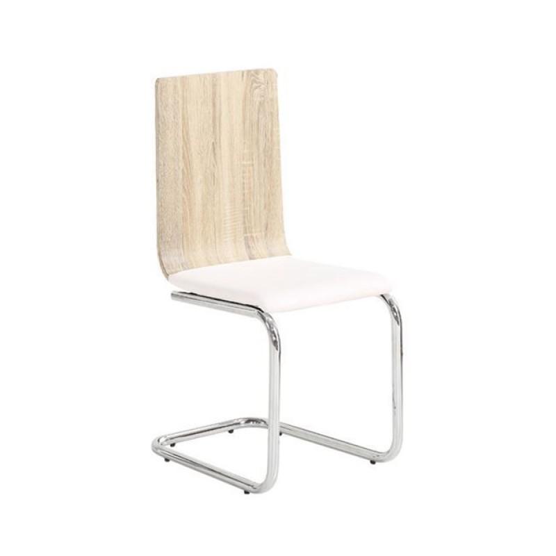 """Καρέκλα """"LORD"""" χρωμίου-pu σε χρώμα σημύδας-λευκό 40x53x90"""