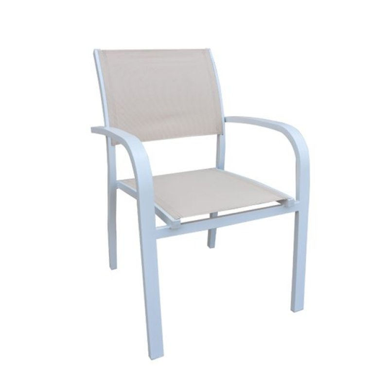 """Πολυθρόνα """"AMIRAL"""" αλουμινίου λευκό με textilene σε μπεζ χρώμα 57x64x86"""