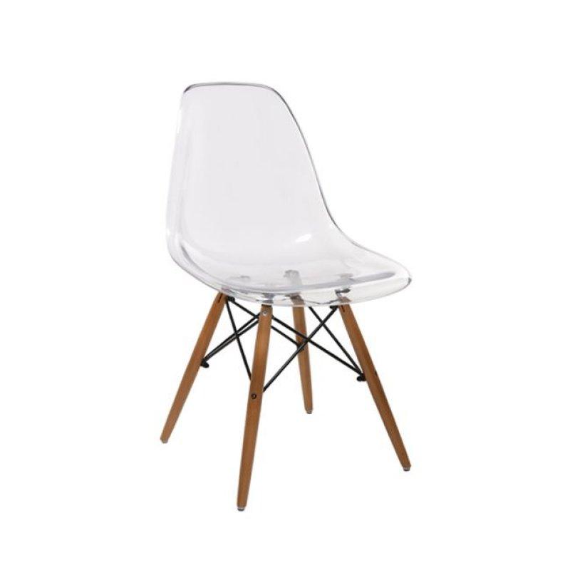 """Καρέκλα """"ART Wood"""" ξύλινη-pp σε διάφανο χρώμα 46x53x82"""