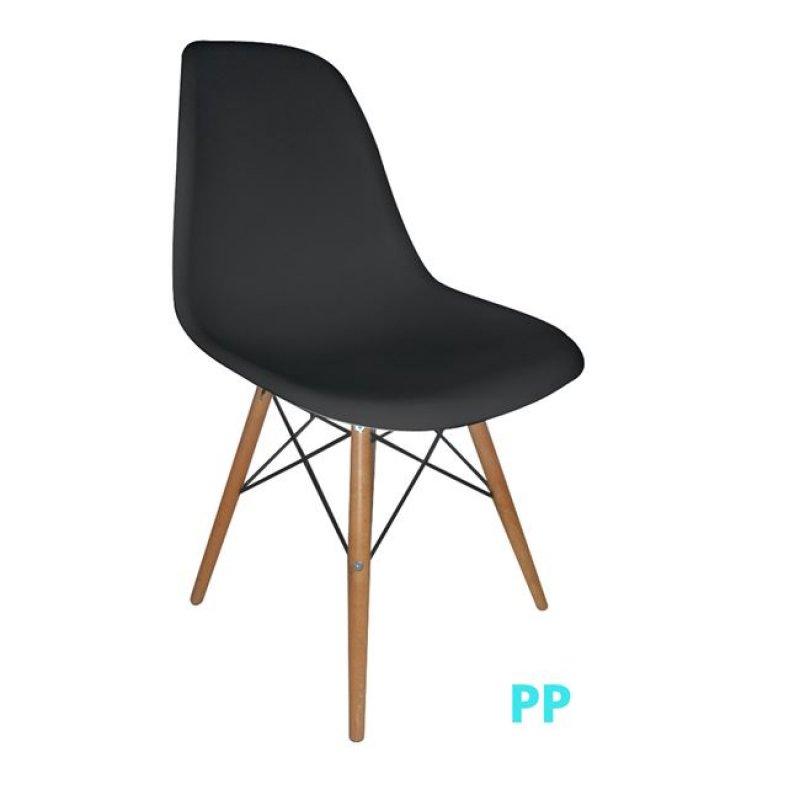 """Καρέκλα """"ART Wood"""" ξύλινη-pp σε χρώμα μαύρο 46x53x81"""